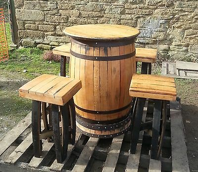 Recycled Solid Oak Whisky Barrel Bar Table and 4 Stools Set