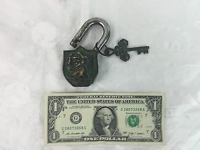 Antiqued Brass Padlock with Keys featuring Tibetan Symbols and Asian Solider