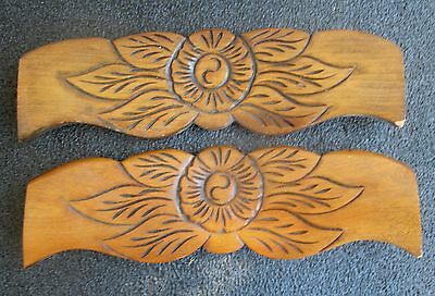 "Pair Vintage Maple Rose Flower Carved Pediments Crests 13"" Wide"