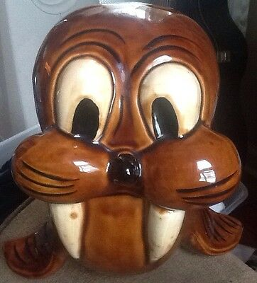 Baby Walrus Vintage Cookie Jar by Doranne of California, Excellent Condition