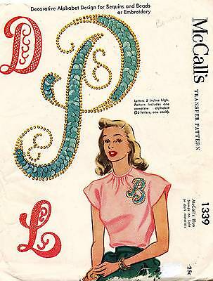 40's VTG McCall Decorative Alphabet Design for Sequins&Beads Pattern 1339 5""