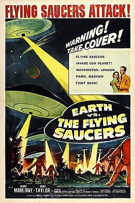 Earth vs. The Flying Saucers 1950's Vintage Old Sci-Fi Movie Poster - 16x24