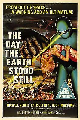 """1950s """"The Day The Earth Stood Still"""" Classic Science Fiction Movie Poster 16x24"""