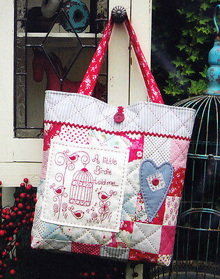 SALE -PATTERN - A Little Birdie- bird stitchery & pieced bag PATTERN - Rivendale