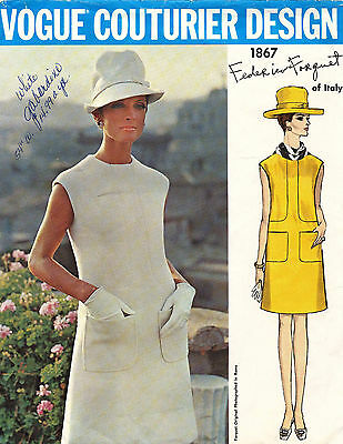 1960's VTG VOGUE Couturier Design Dress by Federico Forquet Pattern 1867 Size 12