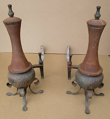 Large Pair Antique Cutler Mfg Co. Arts & Crafts Style Hammered Andirons Firedogs