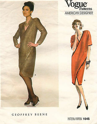 80's VTG VOGUE American Designer  Dress Geoffrey Beene Pattern 1646  8 UNCUT
