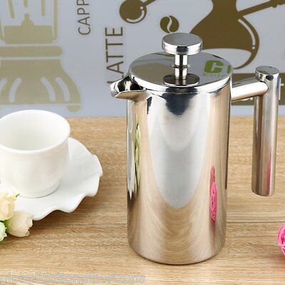 Stainless Steel Cafetiere French Press Coffee Cup Tea Maker Filter Double Wall