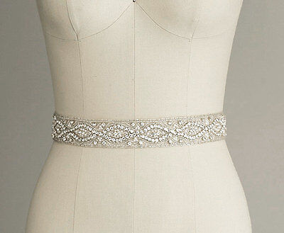 GARDENIA Rhinestone Crystal Diamante Bridal Sash Wedding Dress Belt Any Colour