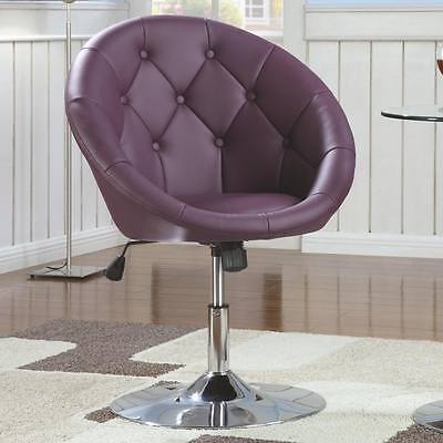 Groovy Round Tufted Black Faux Leather Adjustable Swivel Chair By Ncnpc Chair Design For Home Ncnpcorg