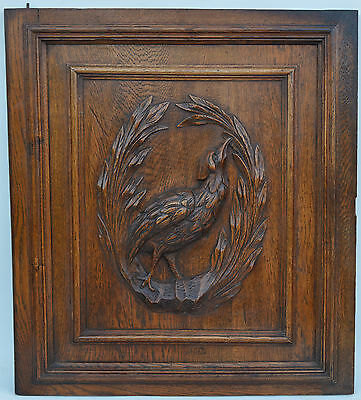 French Antique Hand Carved Wooden Architectural Door Panel - Bird Medallion