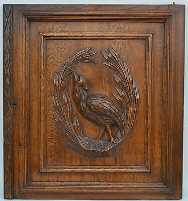 French Antique Hand Carved Wooden Panel Door Picture - Bird Hunt Theme