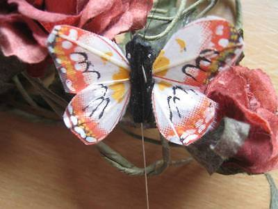 Set of 2 Small Patterned Cerise Feather Butterfly 5.0cm wingspan