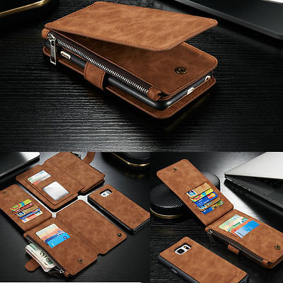 Genuine Leather Wallet Zipper Card Case Cover For Samsung Galaxy S7 S8 S9 Note 9