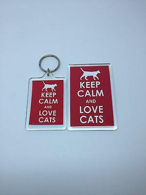 Keep Calm And Love Cats 02 - Fridge Magnet or Keyring = gift present idea