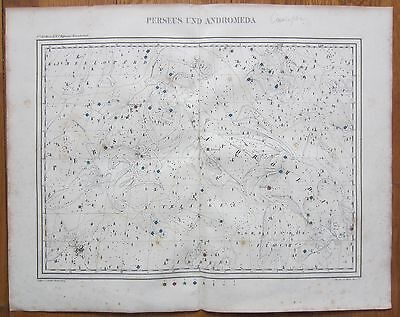 Hoffmann: Rare Large Handcolored Celestial Map Perseus Andromeda - 1835