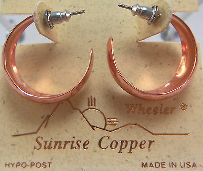 Copper Earrings Indian Hoop Wheeler Healing Arthirits Pain Folklore ce 078 NEW
