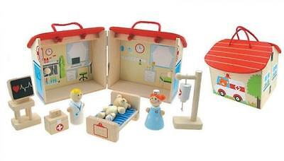 NEW Kaper Kidz Wooden Hospital Play Set with Doctor, Nurse and Sick Teddy