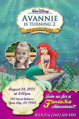 Disney Little Mermaid - Princess Ariel Birthday Party Invitation