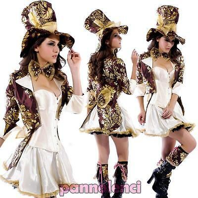 Costume carnevale vestito CAPPELLAIO MATTO donna Halloween travestimento DL-406