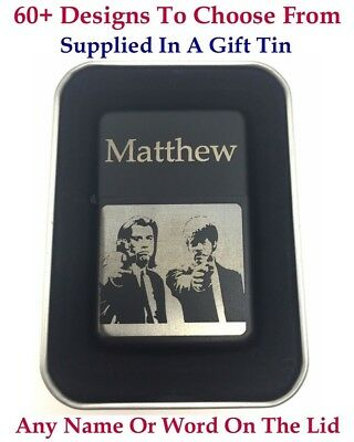 Personalised Engraved lighter,Black Colour + Gift Tin.72 Design choices.UK Stock