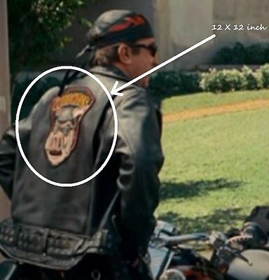 """AS SEEN in MOVIE WILD HOG HOGS 12"""" X 12"""" BIKER JACKET BACK LARGE Iron-on PATCH"""