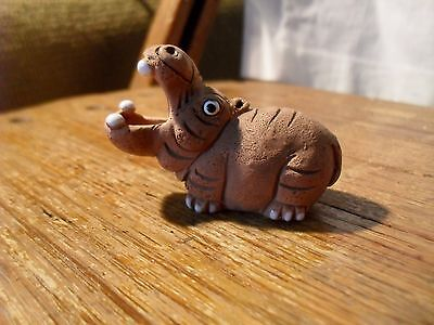 Leps Peru Miniature Hippopotamus Clay Figurine with Glaze Accent Hippo