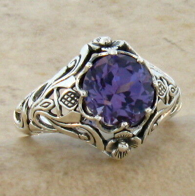 Lab Alexandrite Antique Nouveau Style .925 Sterling Silver Ring Size 10,    #326