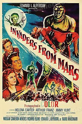 "1950s ""Invaders From Mars"" Classic Old Science Fiction Movie Poster - 16x24"