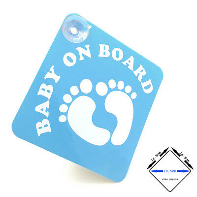BABY ON BOARD - blue / white gloss VINYL car window sign with suction cups