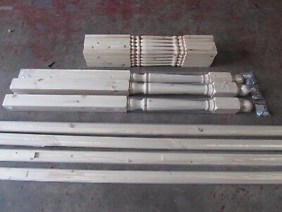 Pine Colonial 41mm Stair & Landing Balustrade Kit Spindles Newels Rails & Bases