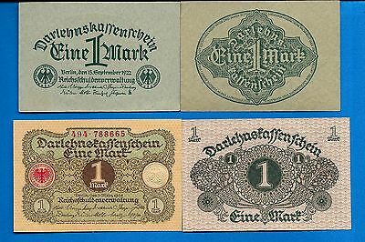 Germany P-58 One Mark & P-61 One mark Uncirculated Banknotes Set #1