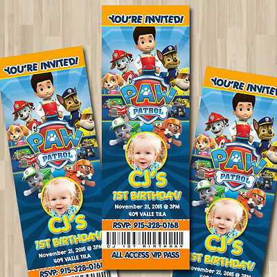 Paw patrol custom ticket party invitation 800 picclick paw patrol custom ticket party invitation filmwisefo