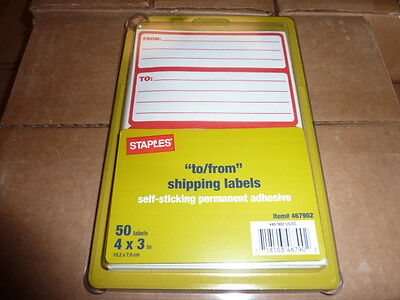 "100 pack of Mailing Labels Self Adhesive red/white to from to/from 4"" x 3"""