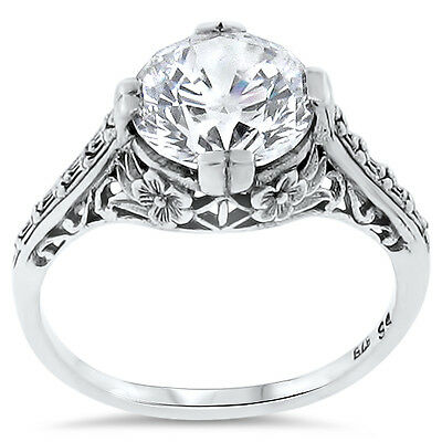 Wedding Engagement .925 Sterling Silver Antique Style Cz Ring Size 5,       #123