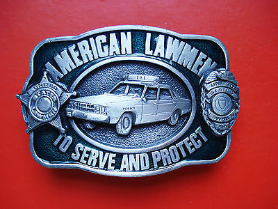 VTG 1983 Siskiyou American Lawmen To Serve and Protect  Belt Buckle