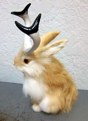 Cute Furry Tan Jackalope with horns! 6.5 inches tall -  very very cute!