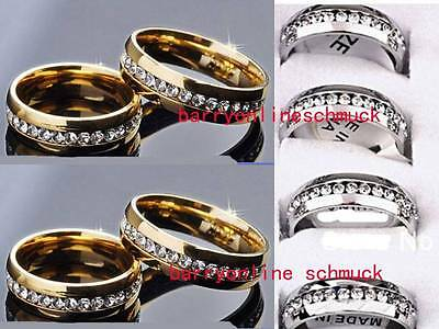 Wholesale 20Pcs Quality Gold Silver Stainless Steel Rings Zircon Jewelry Lots
