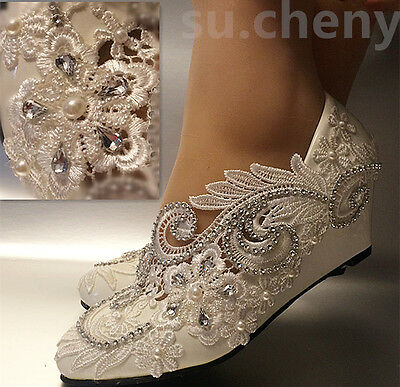 a9a39fcf5f11a9 su.cheny White ivory wedge pearls lace crystal Wedding Bridal heels pumps  shoes. High heel 3