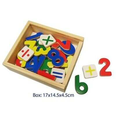 MAGNETIC NUMBERS Wooden Educational TOY BOX Learning MATHS Symbols Fridge Magnet