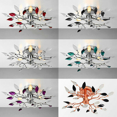 Chrome & Acrylic Crystal 3 Way Flush Ceiling Light Fitting Chandeliers Lights