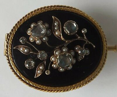 Antique 18ct Gold Dutch Rose Cut Diamond Onyx and Seed Pearl Brooch