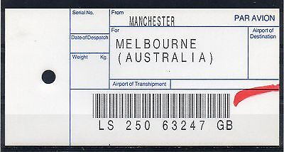 "GB = (1994) ROYAL MAIL `Bag Tag` ""MANCHESTER to MELBOURNE"". Unusual. (01.16)"