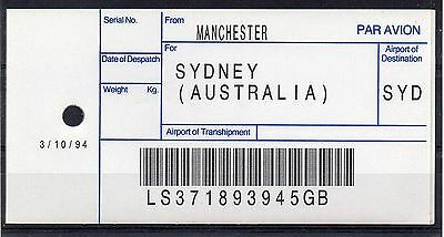 """GB = (1994) ROYAL MAIL `Bag Tag` """"MANCHESTER to SYDNEY"""". Unusual. (01.16)"""