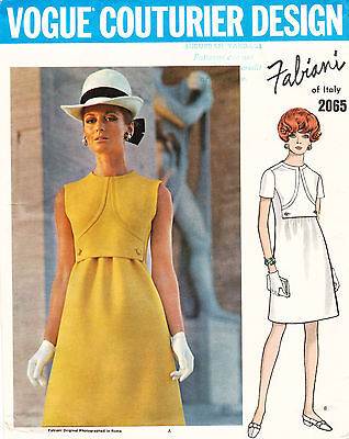 1960's VTG VOGUE COUTURIER DESIGN Misses' Dress by Fabiani Pattern 2065 12 UNCUT