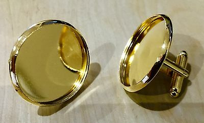 """Gold Cufflink Blanks Round 1"""" 25mm Setting for Photo Jewellery, Images Cabochons"""
