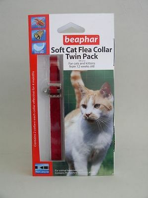 Chat chaton collier anti-puce pack double souple velours rouge Beaphar • EUR 9,02