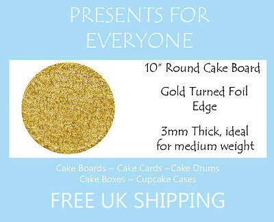 "2 x 10"" Inch Round Gold Cake Board 3mm FREE SHIPPING"