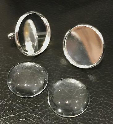 "Silver Cufflinks Round 1"" 25mm for Photo Jewellery, Images & Glass Cabochons"
