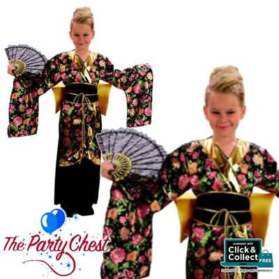 GIRLS JAPANESE GEISHA COSTUME Oriental Flower Kimono Dress Fancy Dress Outfit